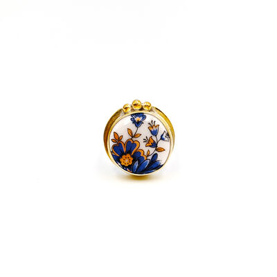 Melanie Sherman, 'Ring (Size 8) Blue & Gold Flowers Gold Filled Gold-Plated 925 Sterling Silver Stoke On Trent Porcelain Jewelry Ceramic', 2019