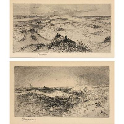 Thomas Moran, 'LOOKING OVER THE SAND DUNES--EAST HAMPTON; THE RESOUNDING SEA (KLACKNER 16; NOT IN K.)', 1880 and 1886