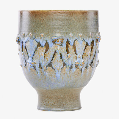 Edwin Scheier, 'Large footed vessel-form with stylized figures, blue drip glaze'