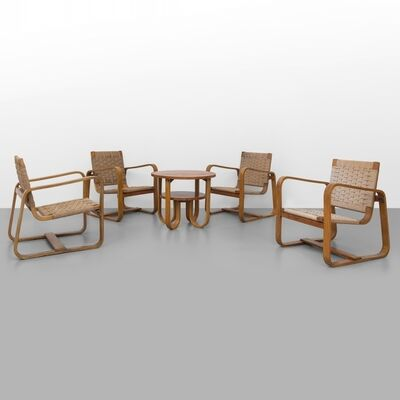 Giuseppe Pagano Pogatschnig, 'Four armchairs with a coffee table made for the Bocconi University Milan', 1942