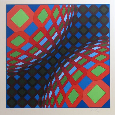 Victor Vasarely, 'Bi-Okta B (Composition in Red, White and Green)', 1973-1975