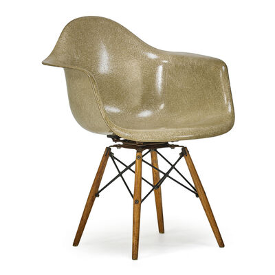 Charles Eames, 'Early Walnut Dowel Leg Swivel Armchair (Paw), Zeeland, MI', 1950s