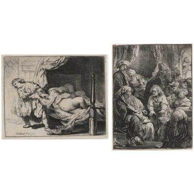 Rembrandt van Rijn, 'Joseph And Potiphar's Wife; Joseph Telling His Dreams (Bartsch 39, 37)'