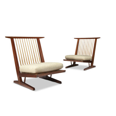 George Nakashima, 'Pair of Conoid Cushion Chairs, New Hope, Pennsylvania', 1980