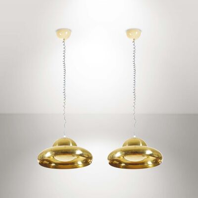 Afra & Tobia Scarpa, 'A pair of Fior di Loto pendant lamps in nickeled brass', 1962