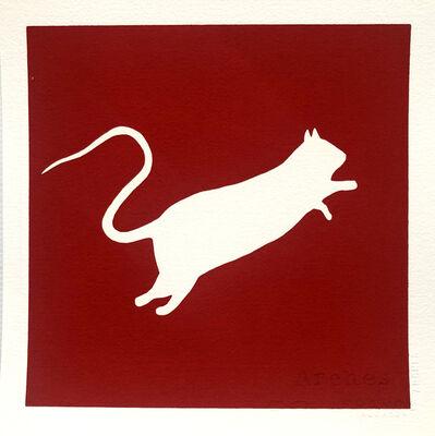 Blek le Rat, 'White rat on red background', ca. 2020