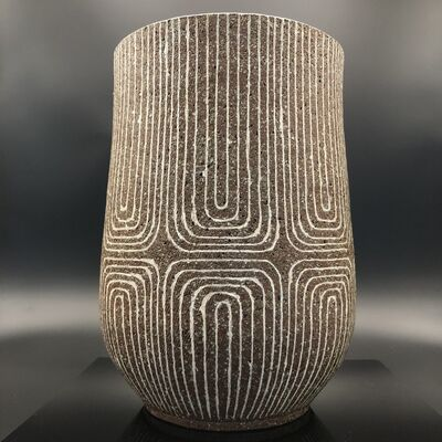 Shinya Kato, 'Japanese Vase with Ash glaze & Geometrical design', 20th Century