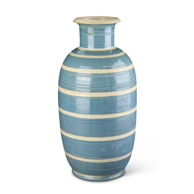 Nils Kähler, 'Monumental vase with gray-blue and ivory striation ', 1930-1950
