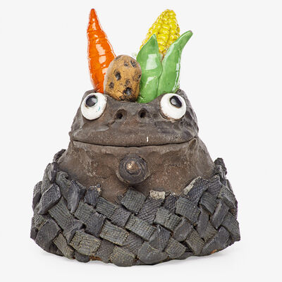 David Gilhooly, 'Untitled Frog Food sculpture (Bust with Corn, Carrot, and Potato), California', 1973