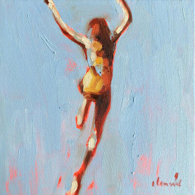 """Elizabeth Lennie, '""""Mythography #108"""" oil painting of a girl jumping in the water with blue background', 2018"""