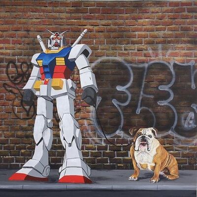 Fleks, 'Mobile suit Gundam walking his English bulldog.', 2018