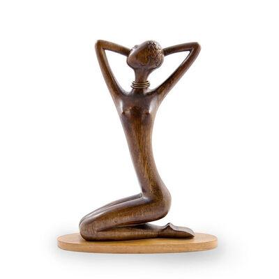 Werkstatte Hagenauer Wien, 'Werkstatte Hagenauer African Woman, precious wood, brass nickel plated, Art Deco,  ca 1950 ', ca. 1950