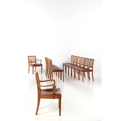 Erik Wortz, 'Set of ten chairs and two armchairs', near 1940