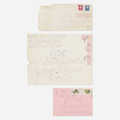James Lee Byars, 'collection of three envelopes mailed to Tommy Longo', c. 1975