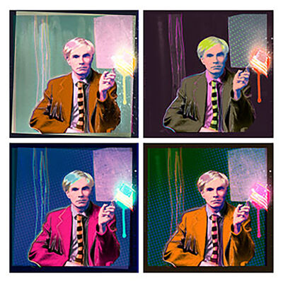 "Karen Bystedt & Chris Saunders, '""Quad Andy Drip"", Andy Warhol Portrait, 2015', 2015"