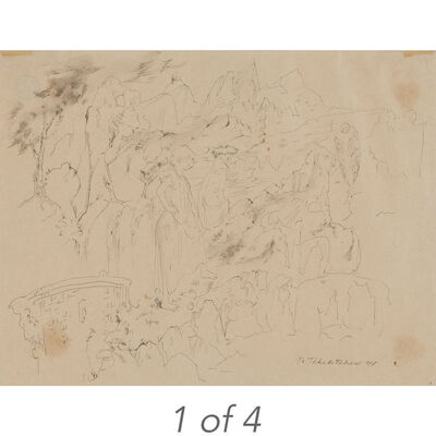 Pavel Tchelitchew, 'Studies of Babies and Portrait of Alice Bouverie (37-26); Untitled Surrealist Landscape (41-20); Untitled Children (40-44); Study for Fat Man (38-22)'
