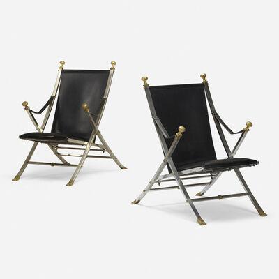 Maison Jansen, 'folding chairs, pair', 1972