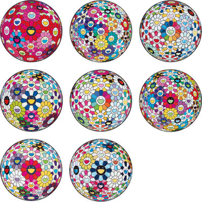 Takashi Murakami, 'Thoughts on Picasso; Thoughts on Matisse; Scenery with a Rainbow in the Midst; Awakening; Flowerball: Want to Hold You; Flowerball Multicolor; Flowerball: Open Your Hands Wide; and The Flowerball's Painterly Challenge', 2014-2015