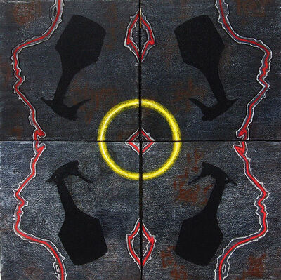"""Arun Bain, 'Making the Circle-1, Pastel, Earth & Water color, Black, Yellow, Red by Arun Bain """"In Stock""""', 2017"""