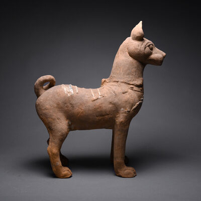 Han Dynasty, 'Han Terracotta Sculpture of a Dog with Green-Glazed Highlights', Han Dynasty-c. 206 B.C. to 220 A.D.