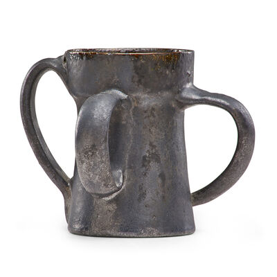 George Ohr, 'Mug with three ear-shaped handles, gunmetal glaze', 1898-1910