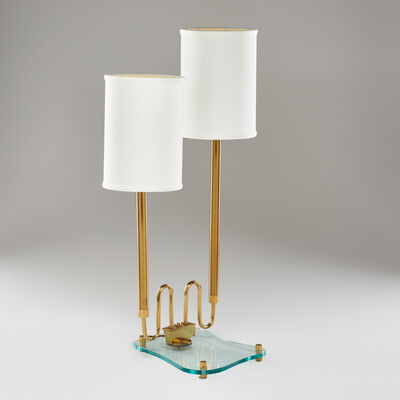 In the style of Fontana Arte, 'Adjustable two-light desk lamp on organic footed base'