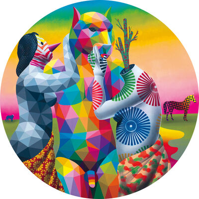 Okuda San Miguel, 'The Lovers of Mr. Cat,', 2018