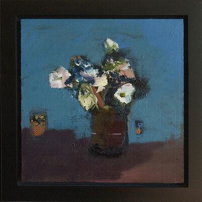Jennifer Hornyak, 'Brown Vase with White Flowers - small blue, green, figurative still life oil', 2016