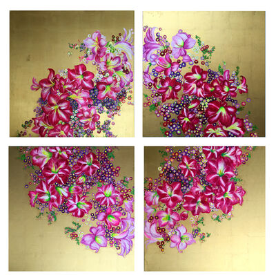 "Anastasia Gklava, '""Crowning Glory"", 4-panel canvas, bright pink floral wreath, golden background ', 2019"