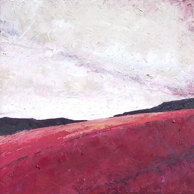 """Alison Haley Paul, '""""Sangria"""" Mixed media impasto landscape of a red/purple field with lavender sky', 2019"""