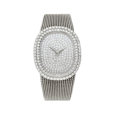 Patek Philippe, '18ct white gold and diamond encrusted bracelet watch Ref: 3624-1.', 1974
