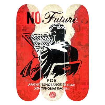 "Shepard Fairey, 'Shepard Fairy x The Skate Room Triptych Skate Deck Set ""No Future""', 2017"