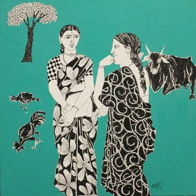 """Laxman Aelay, 'Untitled, Acrylic on Canvas, Green, Black, White Colours by Contemporary Indian Artist """"In Stock""""', 2017"""
