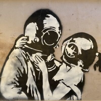 "Banksy, '""Think Tank"" original test spray.', 2003"