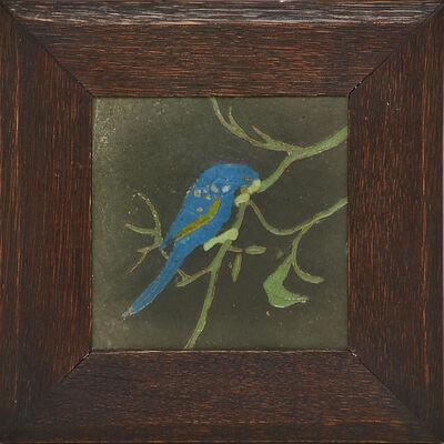 Van Briggle, 'Tile with bird and rare matte black glaze background (framed)', 1910s-20s