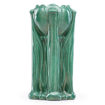 Teco, 'Floriform vase, rare semi-matte green crystalline glaze, Terra Cotta, IL', ca. 1910