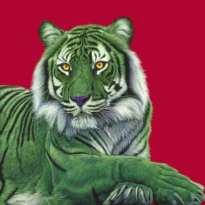Helmut Koller, 'GREEN TIGER ON RED', 2011