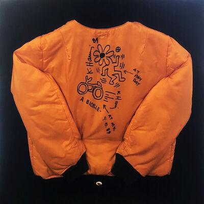 Keith Haring, 'Untitled (Flower on Bike on Orange Satin Jacket)', 1989