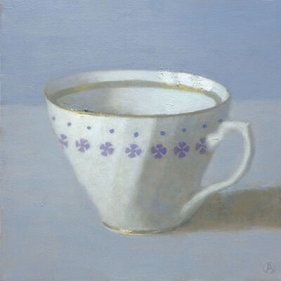 Olga Antonova, 'White Cup on Periwinkle', 2014