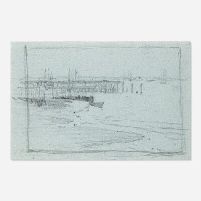 Edward Henry Potthast, 'Dock with Sailboat'