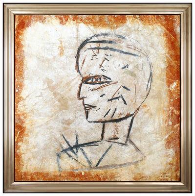 Jamali, 'Jamali Large Original Painting Pigmentation On Cork Portrait Framed Modern Art', 20th Century