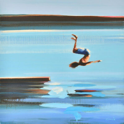 "Elizabeth Lennie, '""Independence"" Oil painting of a boy back flipping off a raft into blue water', 2019"