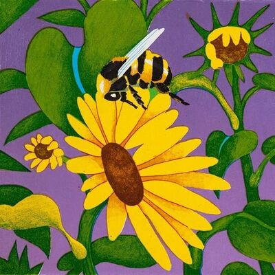 Billy Hassell, 'Bumble Bee & Wildflowers'