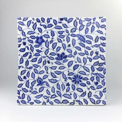 Ming Lu, 'A cube with blue intertwined branches and flowers on a white ground', 2019