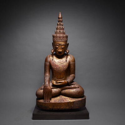Thailand, 'Shan Gilt Wood Sculpture of the Buddha Forming the Bhumisparsa Mudra', 18th Century AD to 19th Century AD