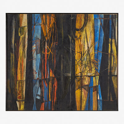 Robert Fremont Conover, 'Untitled (Abstract in Black, Blue, Rust & Yellow)', 1946