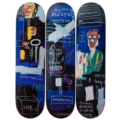 """Jean-Michel Basquiat, '""""Horn Players"""" Skatedeck Triptych', 2019"""