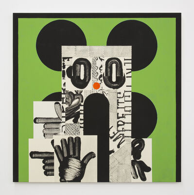David Korty, 'Face on green with four black ears', 2019