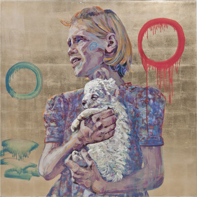 Hung Liu, 'Migrant Child: with Puppy', 2018