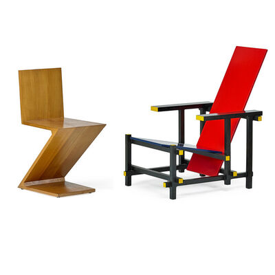 Gerrit Thomas Rietveld, 'Zig-Zag and Red Blue chair, Italy', 1980s-90s